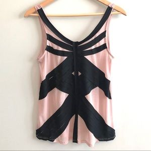 UO Silence & Noise Pink Sheer Criss-Crossed Tank